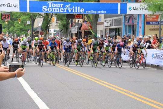 The start of the 2018 Mildred Kulger Memorial Women's Race at the Tour of Somerville.