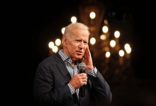 Former Vice President and current Democratic presidential candidate Joe Biden energized supporters during a campaign stop in Des Moines on Wednesday, May 1, 2019.
