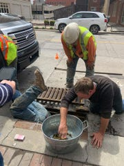 Construction workers dived into an East Village storm drain to rescue the ducklings that had become trapped within them on May 2, 2019.