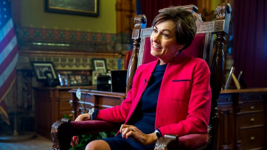 Governor Kim Reynolds sits down for an interview with the Des Moines Register on Thursday, May 2, 2019, at the Iowa State Capitol.