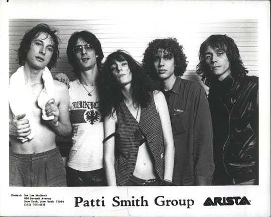 The Patti Smith Group: Jay Daugherty (L-R), Lenny Kaye, Patti Smith, Richard Sohl, and Ivan Kral.
