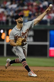 Detroit Tigers' Daniel Norris pitches during the first inning of a baseball game against the Philadelphia Phillies, Wednesday, May 1, 2019, in Philadelphia.