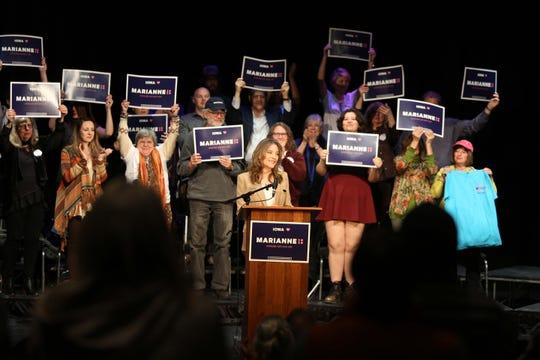 Democratic presidential hopeful Marianne Williamson campaigns in Fairfield, Iowa.