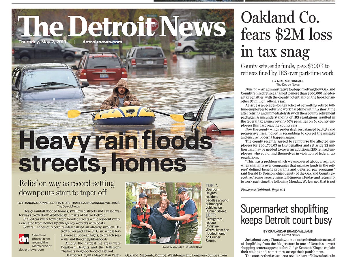 The front page of the Detroit News on Thursday, May 2, 2019.