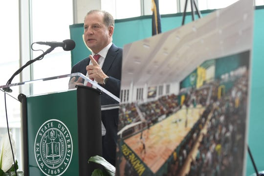 Detroit Pistons Vice Chairman Arn Tellem speaks during announcement of the $25 million arena for Wayne State men's and women's basketball teams in partnership with the Detroit Pistons during a news conference Wednesday.