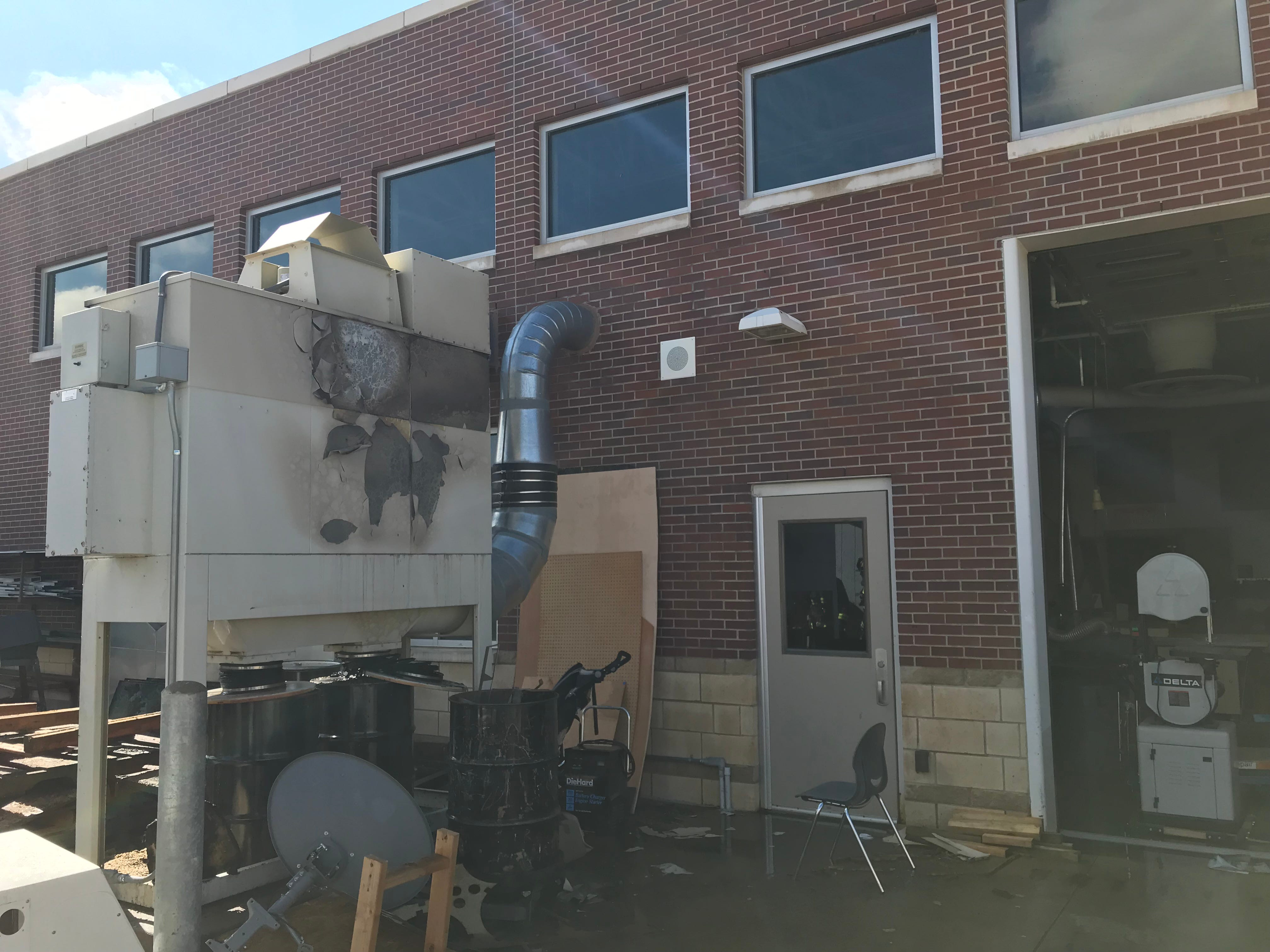 Poudre Fire Authority extinguished a fire at Fossil Ridge High School Thursday, May 2, 2019. The cause of the fire is under investigation, but it appeared Thursday that a dust collector caught fire near the shop.