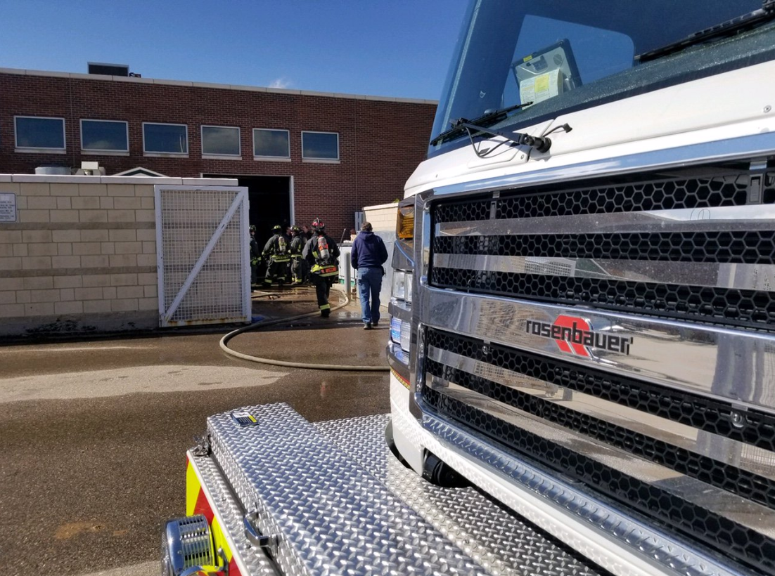 Poudre Fire Authority works to extinguish a fire in a dust collector on Thursday at Fossil Ridge High School.