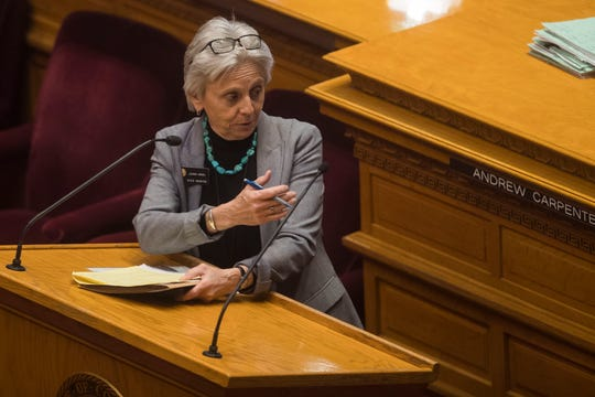 Colorado state District 14 Sen. Joann Ginal answers a question posed by Sen. Jerry Sonnenberg, to her right, as they discus house bill 1045 on Thursday, May 2, 2019, at the Colorado State Capital in Denver, Colo.