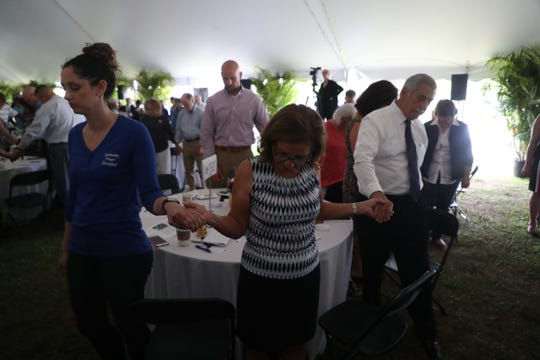 More than a 1000 people attended the 2019 Community Prayer Breakfast at City of Palms Park on Thursday May, 2, 2019. The keynote speaker was Michael Hingson who escaped with guide dog Roselle, from the 78th floor of Tower One of the World Trade Center moments before it collapsed on 911. Hingson has been blind since birth.