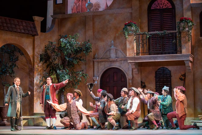 "A publicity photo for Sarasota Opera's production of ""Barber Of Seville."" Gulf Coast Symphony performs the opera Saturday at Barbara B. Mann Performing Arts Hall in south Fort Myers. The local production uses the same set and most of the same performers."