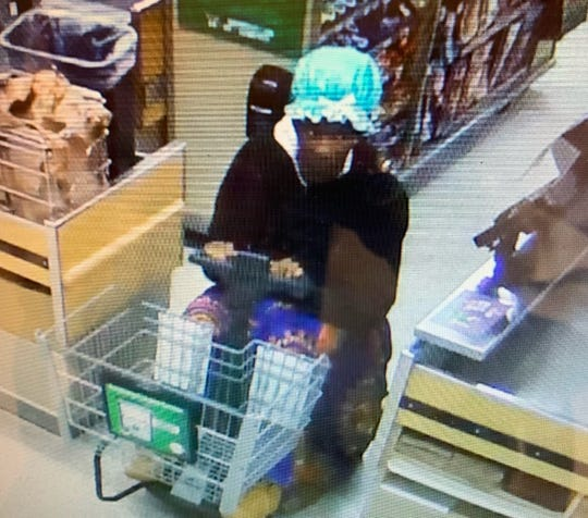 A man bedeckedin a blue bonnet and wearing a flowery dressis being sought for the alleged theft of infant formula from the Cape Coral Publix at Midpoint Plaza.