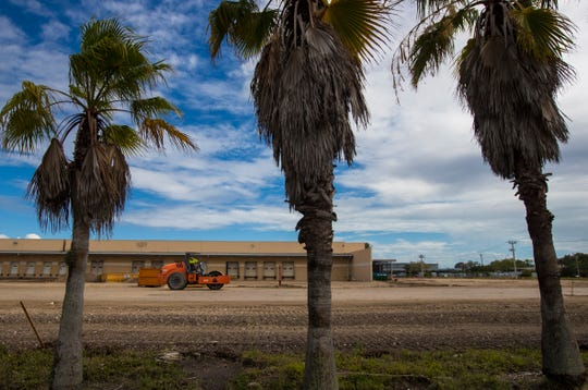 A view of the construction site at 2670 Colonial Blvd., former home of a FedEx distribution facility and future home of SpaceBox, a climate-controlled storage facility.