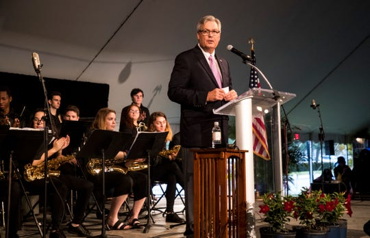 Fort Myers Mayor Randy Henderson was the moderator fot the 2019 Community Prayer Breakfast at City of Palms Park on Thursday, May 2, 2019. The keynote speaker was Michael Hingson who escaped with guide dog Roselle, from the 78th floor of Tower One of the World Trade Center moments before it collapsed on 911. Hingson has been blind since birth.