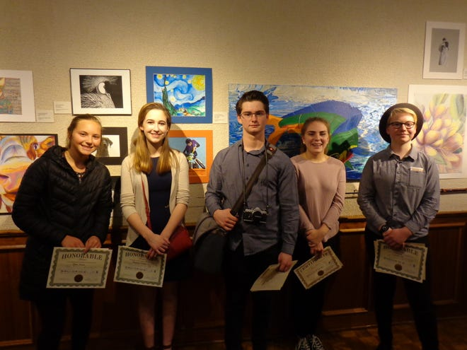 Award winners in the 45th Annual Salon of Door County High School Art exhibit are, from left: Katie Frank, Mackenzie Ellefson, Lucas Smith, Haley Dawson and Frederike Witt. Not pictured: Claire Tellstrom, Zachary Puissant, Cassidy Stark, Amber Brickner, Tara DeJardin and Rylee Lux.