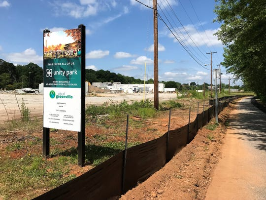 The future site of the 65-acre Unity Park, shown here on Thursday, May 2, 2019, is a city project that includes its old public works facility. The project aims to draw visitors and provide recreation space to a historically under-served area west of downtown Greenville.