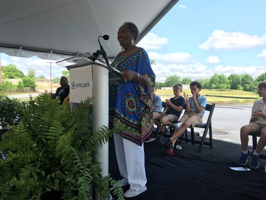 Mary Duckett of the Southside community in Greenville speaks to a crowd gathered off Hudson Street on Thursday, May 2, 2019, about the future 65-acre Unity Park, a city project that aims to draw visitors and provide recreation space to a historically under-served area west of downtown Greenville.