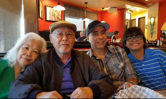 The late John Toves, second from right, with his parents Charles Toves and Nacrina Ada Toves and nephew Christian, during Charles Toves' July 2016 birthday. When the photo was taken, the family just came from Mount Carmel Church in Redwood City where John Toves sang in choir every week.