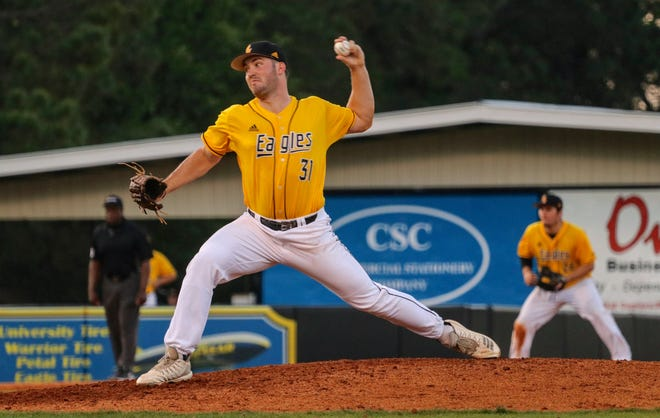Southern Miss pitcher Sean Tweedy delivers a pitch against Mississippi on Wednesday, May 1 in Hattiesburg, Mississippi.