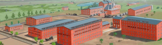A stylized illustration from roughly 1910 portrays the former Kentucky Peerless distilling that once stood near present-day McKinley Street between Washington and Second streets in Henderson. (