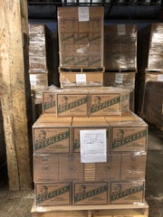 Cases of Kentucky Peerless rye whiskey await shipment at the company's distillery in Downtown Louisville. In two months, the first shipments of Peerless bourbon will be heading out the door.
