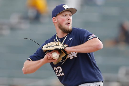 Notre Dame pitcher Zack Martin during an NCAA college baseball game against Arizona State, Sunday, Feb. 17, 2019, in Phoenix. (