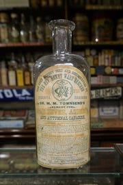 """The label of an old medicine bottle notes it is """"The only remedy used and recommended by The Rev. Henry Ward Beecher."""" Beecher was the minister at the Second Presbyterian Church in Indianapolis from 1839-1847, and the brother of author Harriet Beecher Stowe."""