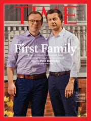Pete Buttigieg and his husband, Chasten Glezman, on the cover of the May 13, 2019 issue of Time magazine.