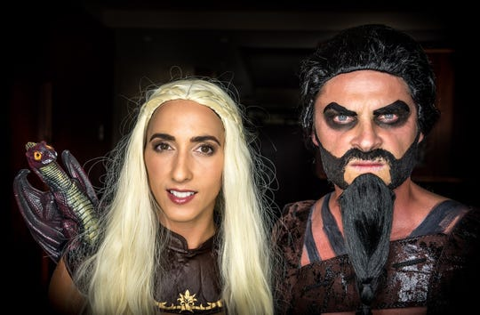 Cosplayers portray Daenerys Targaryen and Khal Drogo