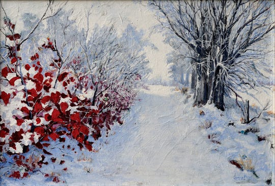"""This appealing winter scene called """"Cat's Lane"""" was painted by Don Hetzel for his wife. This accomplished regional artist recently relocated from Keokuk to Coralville."""