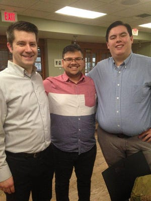 NHB conductors for the May 4 spring concert include (l-r): Nolan Hauta, Kamal Talukder and Andy McDonald.