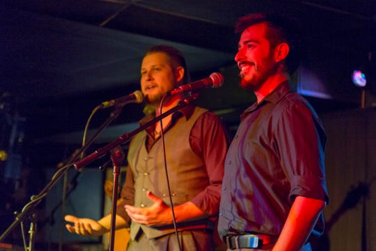 Luke Brown (left) and Rich LeMay (right) on stage during the Variety Show Fundraiser in fall of 2017.