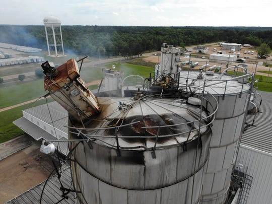 This photo taken with a drone shows a silo that exploded at M&M Milling in Brookhaven, Miss. on Thursday, May, 2, 2019.