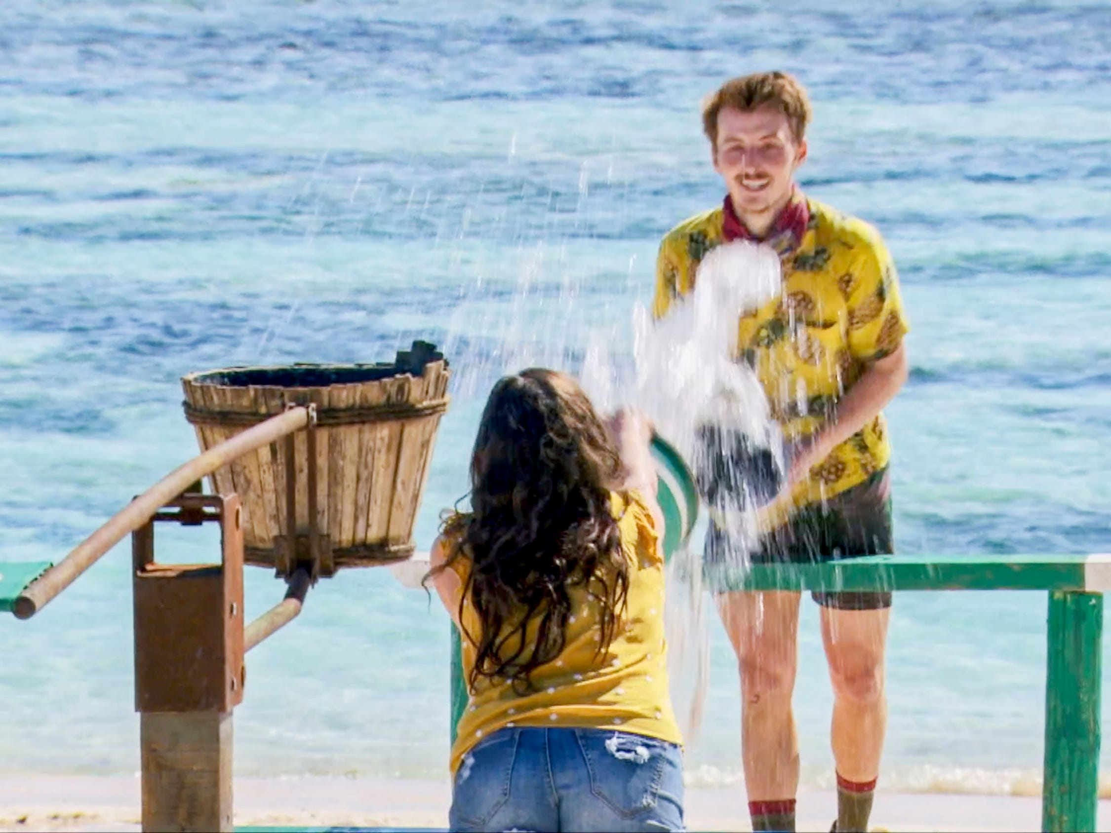 "Gavin Whitson and his wife Carly compete in a challenge on ""Survivor: Edge of Extinction."""