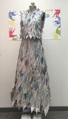 Mariclair Tan designed and made this dress out of newspaper.