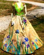 Cheryl Burchett made this dress with newspaper.