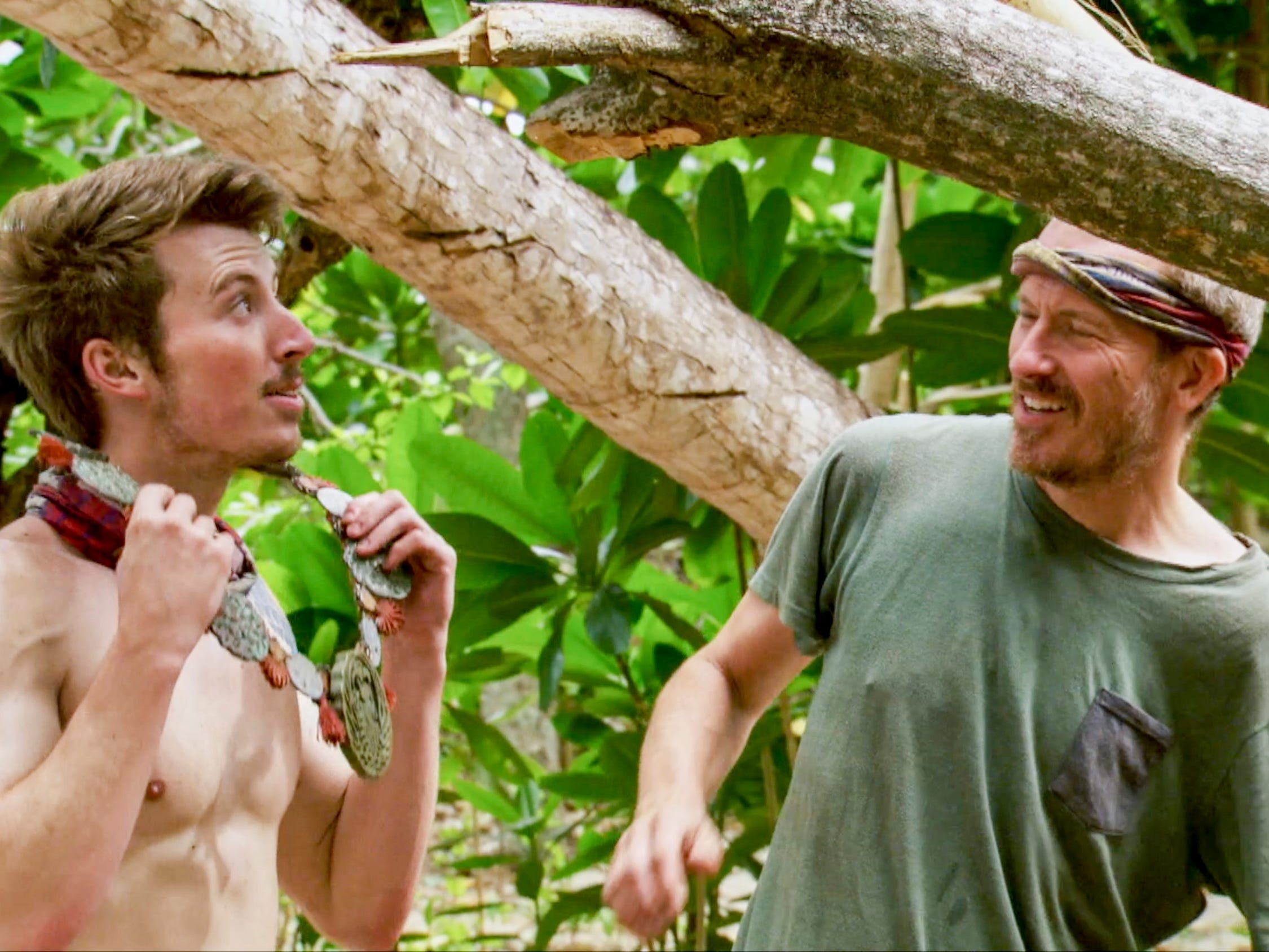 "From left are Gavin Whitson and Ron Clark  on ""Survivor: Edge of Extinction."""