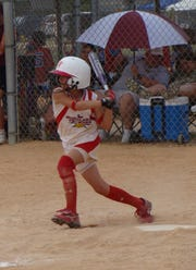 Aubrey Leach slap hitting at age 10.