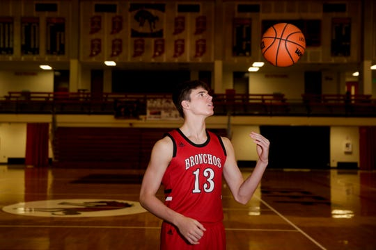 Brooks Barnhizer poses for a photo, Thursday, May 2, 2019 at Lafayette Jeff High School in Lafayette. Barnhizer is the Journal & Courier Big School boys basketball Player of the Year