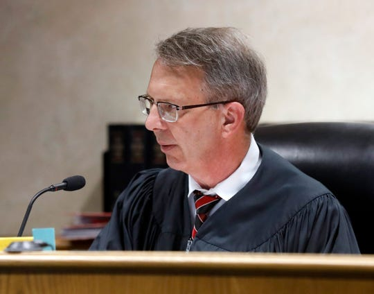 Fairfield County Common Pleas Court Judge Richard Berens speaks to Timothy Hicks during a change of plea and sentencing hearing Wednesday, May 2, 2019, in Lancaster. Hicks was sentenced to nine years in prison for dealing methamphetamine.