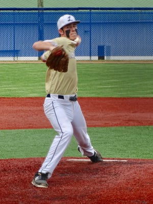 Lancaster junior pitcher Casey Finck gets set to deliver the ball against Grove City during Wednesday's Ohio Capital Conference-Ohio Division game. Finck gave up only two earned runs, but the Gales fell short, falling 4-3.