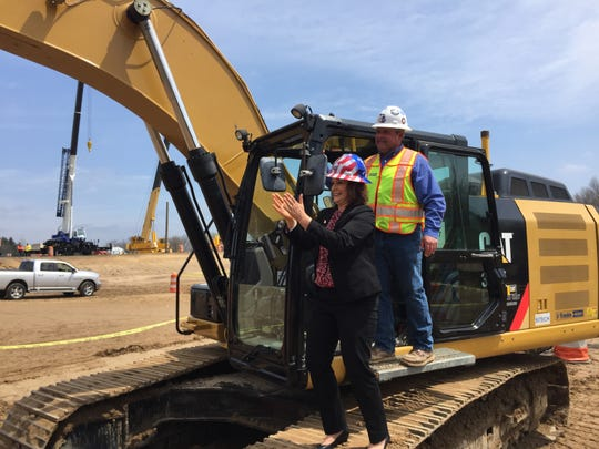 Gov. Gretchen Whitmer took a turn operating an excavator at Construction Career Days, Thursday, May 2, 2019, at Operating Engineers 324 Construction Career Center.