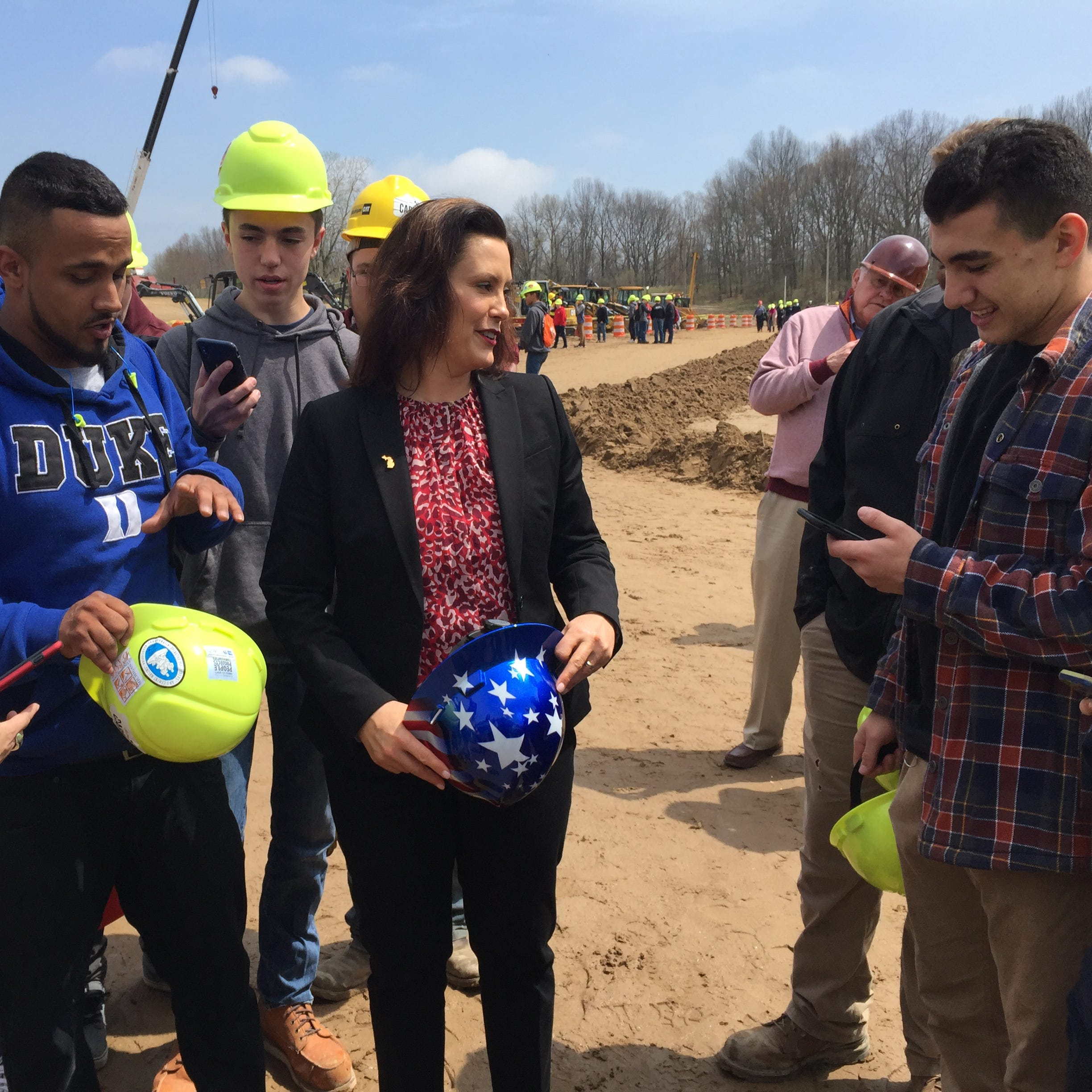 Whitmer joins thousands of students to promote jobs in construction, skilled trades in Howell Twp.