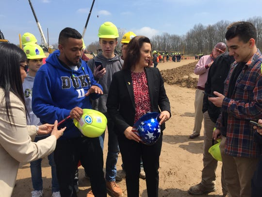 Gov. Gretchen Whitmer greets students at Construction Career Days at Operating Engineers 324 Construction Career Center, Thursday, May 2, 2019.