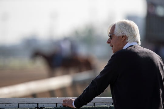 Trainer Bob Baffert kept an eye out for Game Winner as his horse trains for the Kentucky Derby at Churchill Downs. May 2, 2019.