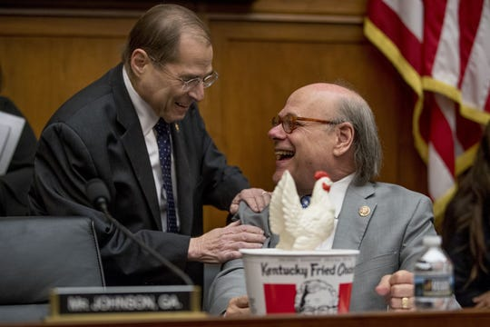 Rep. Steve Cohen brought a bucket of Kentucky Fried Chicken and a fake chicken to the House judiciary committee hearing that Attorney General William Barr refused to appear at on Thursday.