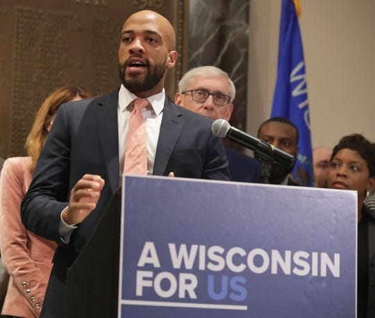 Lt. Gov. Mandela Barnes speaks as he and Gov. Tony Evers hold a news conference in Milwaukee on Thursday, May 2, 2019.