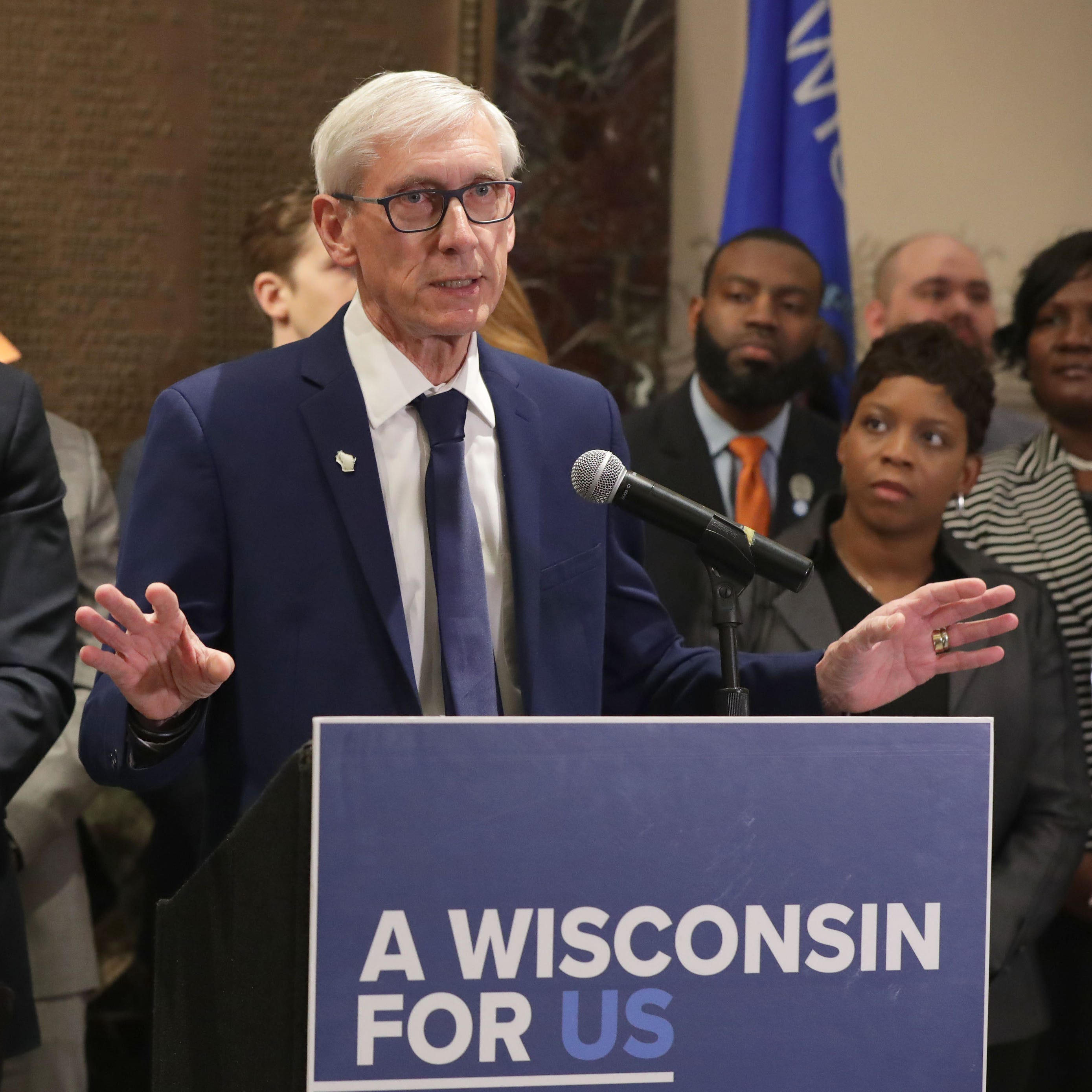 Gov. Tony Evers speaks as he and Lt. Gov. Mandela Barnes (left) held a news conference regarding Medicaid expansion.