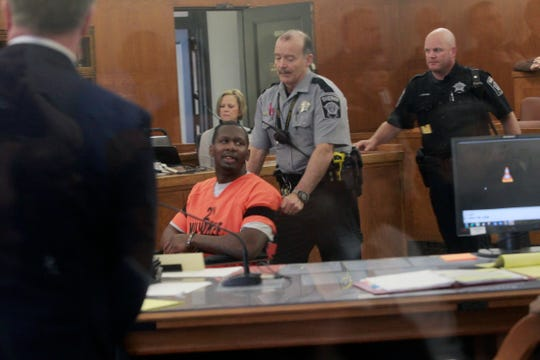Jonathan Copeland Jr. is led into court on Thursday, May 2, 2019, for his sentencing in the fatal ambush of Milwaukee Police Officer Michael Michalski. Copeland was sentenced to life in prison for the  July 25, 2018, homicide.
