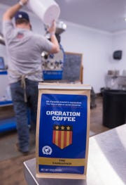 A bag of Sam Floyd's Caregiver roast is shown at his coffee roasting business, Operation Coffee.