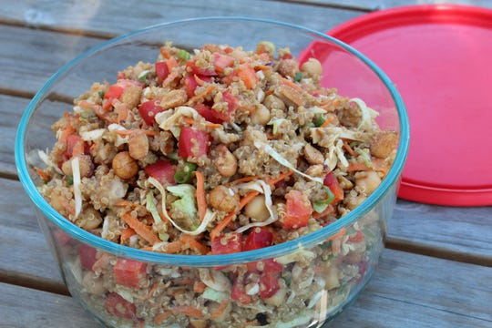 Thai Quinoa Salad with Ginger Peanut Dressing is packable for a picnic or potluck.